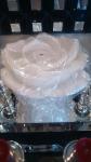 Свеча роза белая с блестками гигант